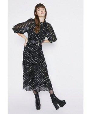 Womens Spot Print Collar Detail Tiered Midi Dress - black, Black