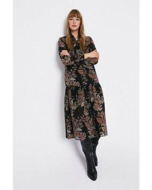 Womens Paisley Tie Neck Midi Dress - multi, Multi