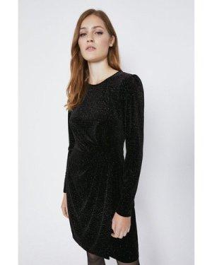 Womens Rainbow Glitter Spot Velvet Dress - black, Black