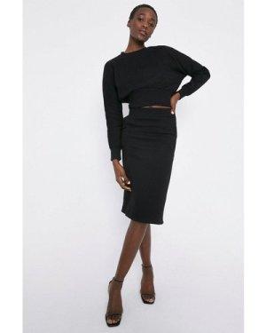 Womens Zip Side Jersey Sweat Skirt - black, Black