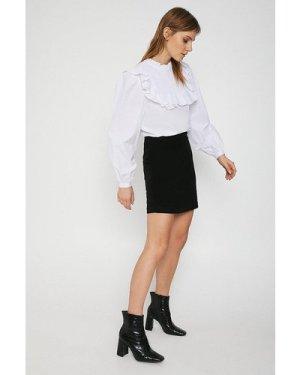 Womens Velvet Mini Skirt - black, Black