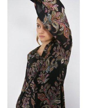 Womens Paisley Print Oversized Shirt Dress - multi, Multi