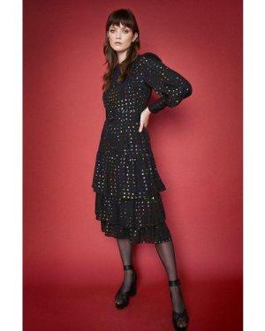 Womens Rainbow Spot Tiered Midi Dress - black, Black