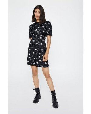 Womens Peplum Hem Dress - black, Black