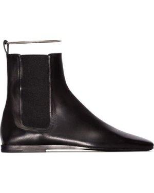 Jil Sander 20FW JS33146A 998 Leather Boots with metal ankle bracelet Black (Size: 36)