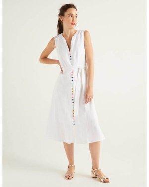 Cecilia Linen Dress White Women Boden, White