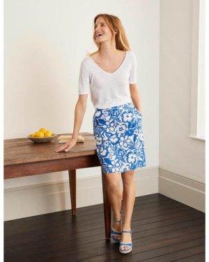 Lathbury Linen Mini Skirt Blue Women Boden, Blue