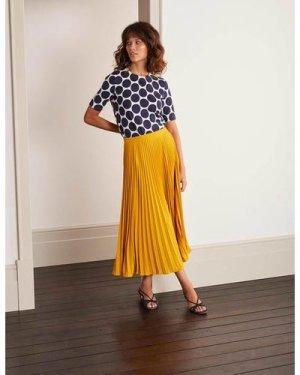 Kristen Pleated Skirt Yellow Women Boden, Yellow
