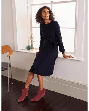 Deborah Belted Knitted Dress Navy Women Boden, Navy
