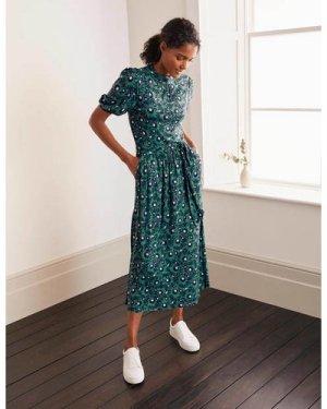 Flora Jersey Puff Sleeve Dress Green Women Boden, Green