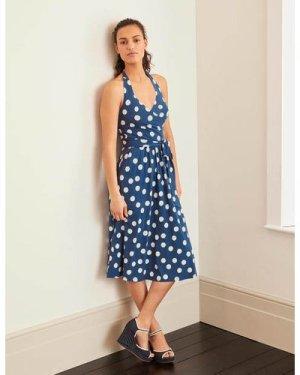 Tess Halterneck Jersey Dress Blue Women Boden, Blue