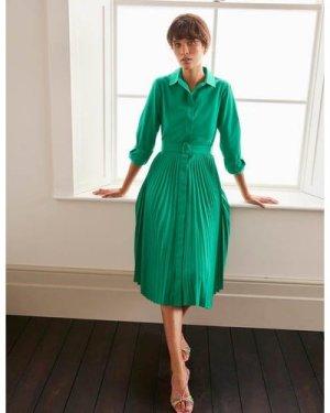 Alma Pleated Shirt Dress Green Women Boden, Green