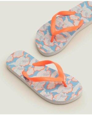 Printed Flip Flops Blue Girls Boden, Blue