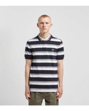 Fred Perry Stripe Short Sleeve Polo Shirt, White/Black