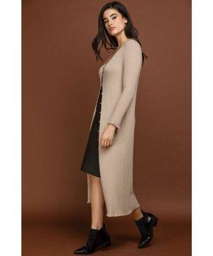 Conquista Ruffle Detail Long Cardigan by Si Fashion