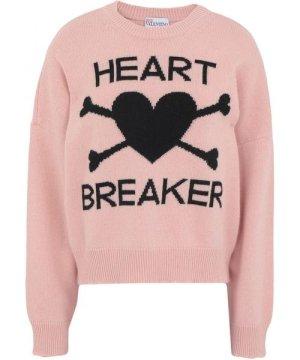Redvalentino Pink Wool Knit Heart Breaker Jumper