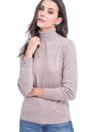 C&Jo C&JO Turtleneck Sweater with Buttoned Sleeves in Beige