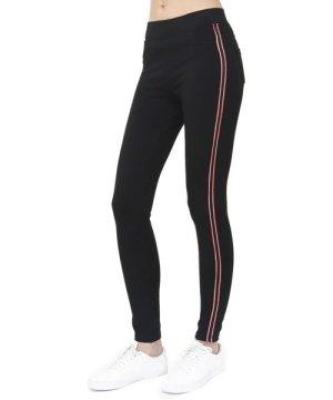 Assuili Two-tone Side Stripe Leggings in Black