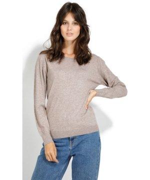 William De Faye Round Neck Long Sleeve Open Stitch Work Sweater in Beige