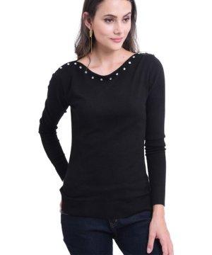 William De Faye Diamond Round Neck Sweater in Black