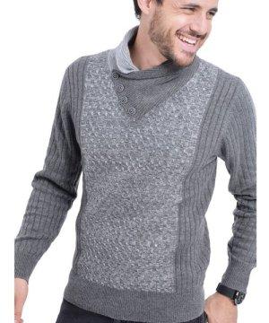 C&Jo C&JO Shawl Collar Jacquard Sweater with Butons in Grey