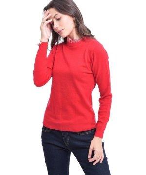C&Jo C&JO High Neck Striped Collar Sweater in Red
