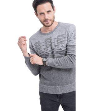 C&Jo C&JO Round Neck 3-ply Jacquard Sweater in Grey