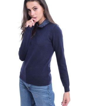 William De Faye Polka Dot Collar Sweater in Navy