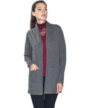 William De Faye Longline Shawl Neck Cardigan with Pockets in Grey