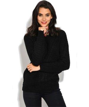 William De Faye Long Sleeve Twisted yarn Sweater in Black