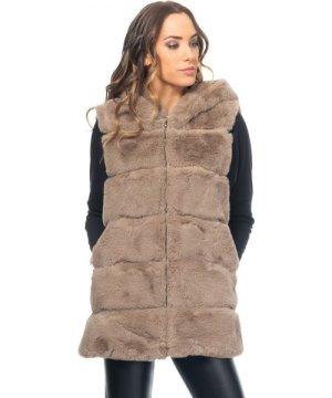 Tantra Hooded fur vest with zip closure