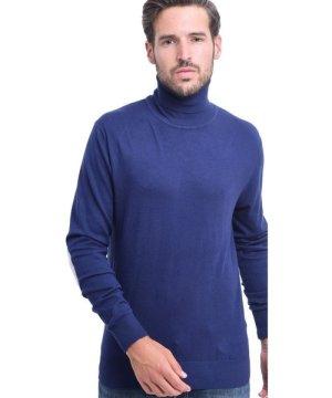 C&Jo C&JO Turtleneck Elbow Patch Sweater in Navy