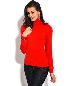 William De Faye Rollneck Long Sleeve Sweater in Red