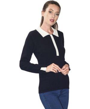 C&Jo C&JO Two-tone Peter Pan Collar Sweater in Black