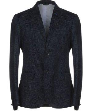 Daniele Alessandrini Grey Dark Blue Cotton Single Breasted Jacket