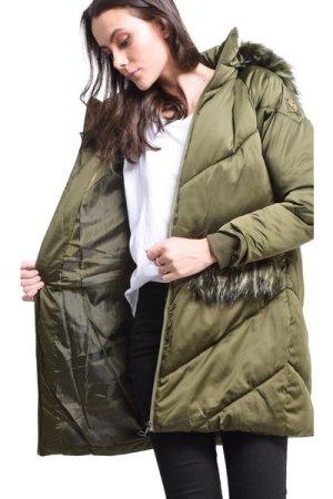 Assuili Long Puffer Jacket with Faux Fur Panel in Khaki