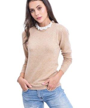 Assuili Ruffled Lace Collar Sweater in Beige
