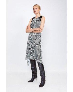 Karen Millen Print Midi Dress With Lace And Stud Trim -, Animal