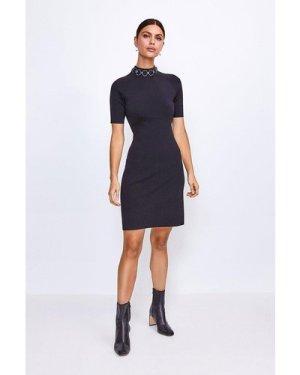 Karen Millen Chain Neck Knitted Dress -, Black