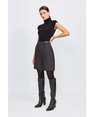 Karen Millen Polished Stretch Wool Blend Shorts -, Charcoal