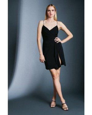 Karen Millen Strappy Wrap Bodice Ruffle Skirt Dress -, Black