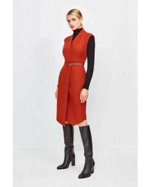 Karen Millen Compact Stretch Chain Link Wrap Dress -, Orange