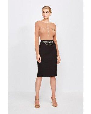 Karen Millen Structured Crepe Snaffle Pencil Skirt -, Black