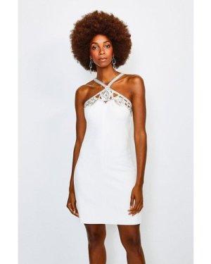 Karen Millen Diamante Cutwork Mini Dress -, Ivory