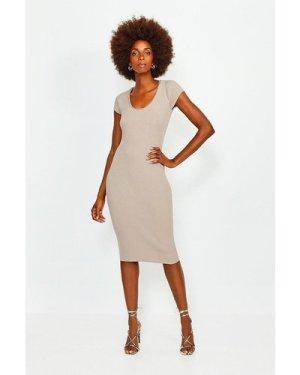 Karen Millen Chain Neck Knitted Dress - Taupe, Brown