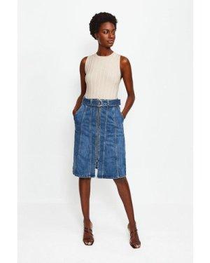 Karen Millen Denim Zip Front Skirt -, Indigo