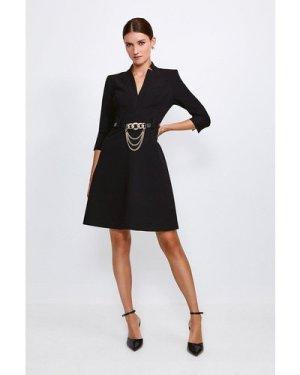 Karen Millen Forever Chain Belt A Line Dress -, Black