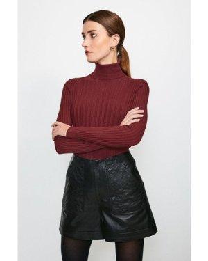 Karen Millen Quilted Pocket Leather Short -, Black
