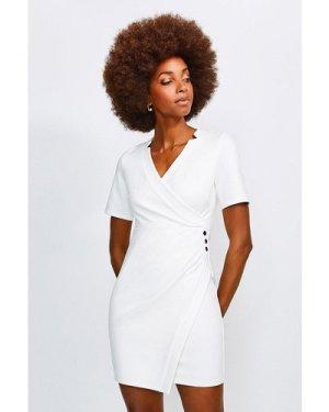 Karen Millen Twist Waist Ponte V Neck Dress -, Ivory