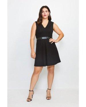 Karen Millen Curve V Neck Ponte Belt Short Sleeve Dress -, Black